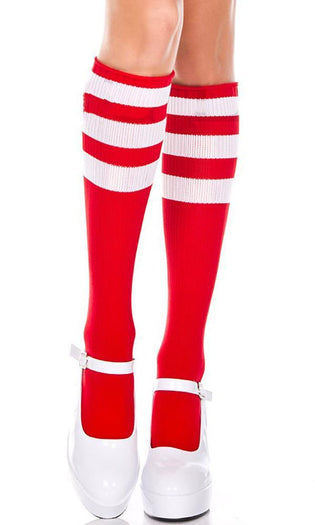Triple Stripe [Red/White] | KNEE HIGH SOCKS