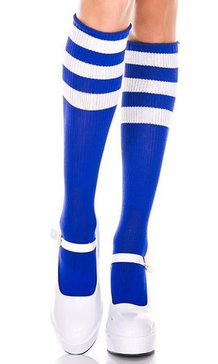 Triple Stripe [Royal Blue/White] | KNEE HIGH SOCKS*