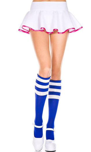 Triple Stripe [Royal Blue/White] | KNEE HIGH SOCKS