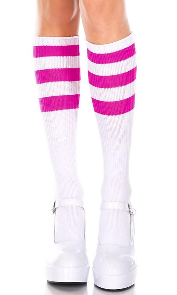 f5afd5164e65a Music Legs - Triple Stripe White/Hot Pink Knee High Socks - Buy ...