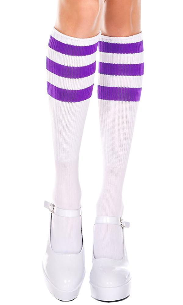 Triple Stripe [White/Purple] | KNEE HIGH SOCKS