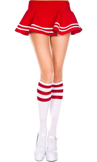 Triple Stripe [White/Red] | KNEE HIGH SOCKS