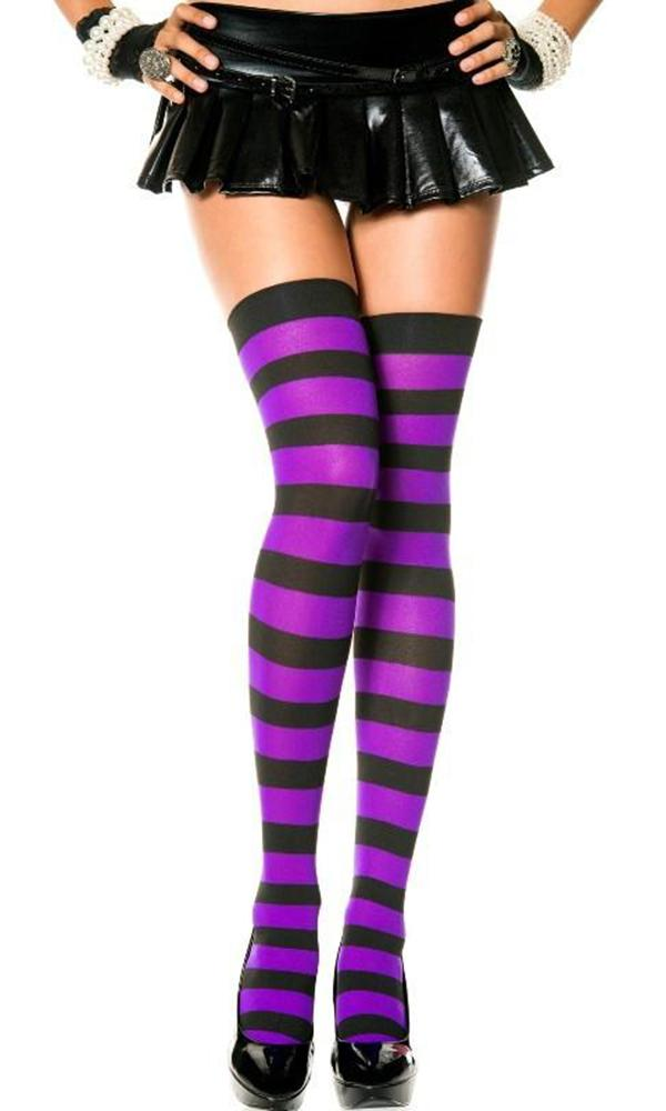 Opaque Wide Stripe [Purple & Black] | THIGH HIGH