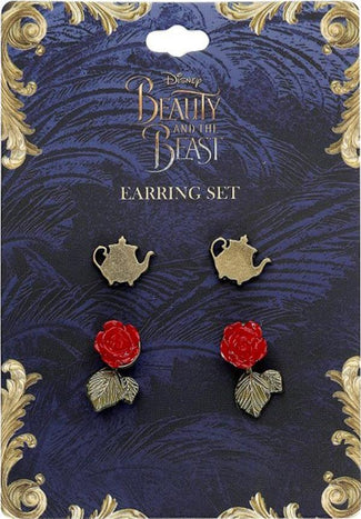 Beauty & The Beast Live Action | Teapot & Rose EARRING SET