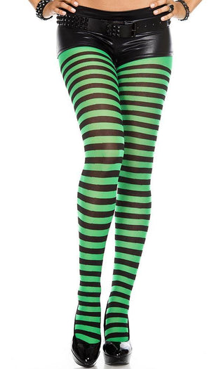 Opaque Striped [Black/Kelly Green] | PANTYHOSE
