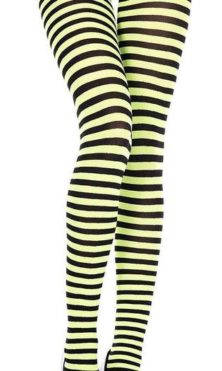 Opaque Striped [Black/Neon Green] | PANTYHOSE