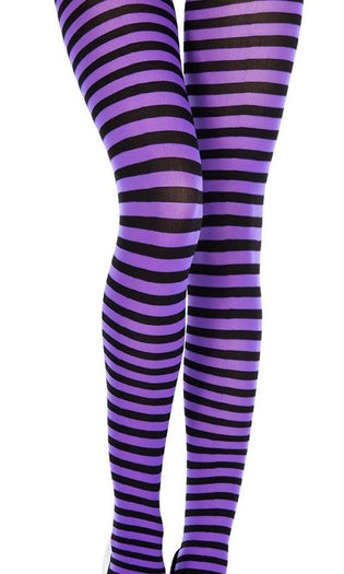 Opaque Striped [Black/Purple] | PANTYHOSE