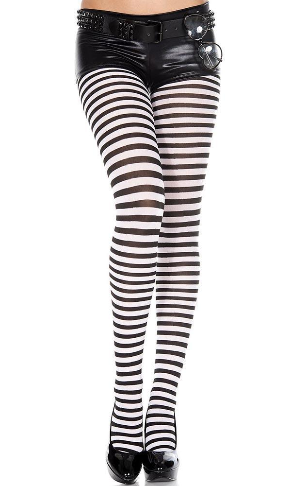 Opaque Striped [Black/White] | PANTYHOSE