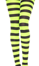Opaque Wide Stripe [Black/Neon Green] | PANTYHOSE