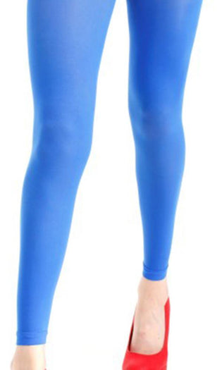 40 Denier Velvet [Flo Blue] | FOOTLESS TIGHTS