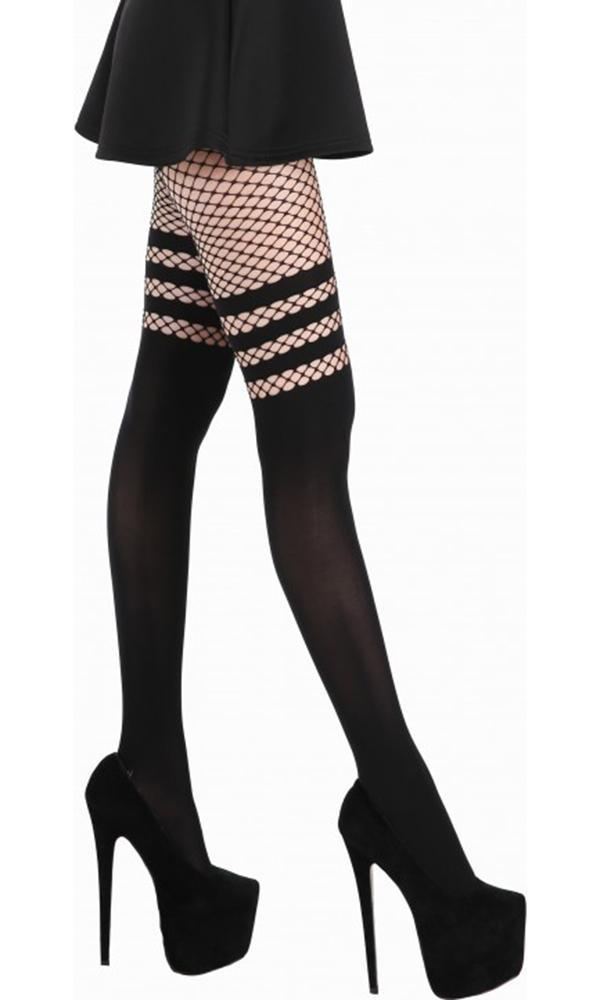e5703d8a33638 Pamela Mann - Fishnet Over The Knee Opaque Black Tights - Buy Online ...