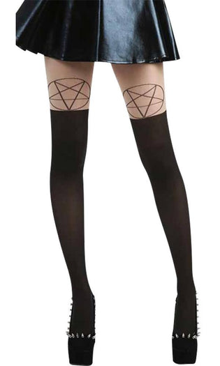 Pentagram Over The Knee [Nude/Black] | TIGHTS