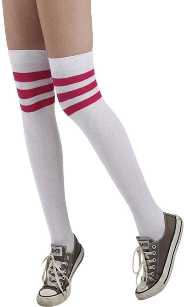 Referee Over Knee [White/Pink] | SOCKS