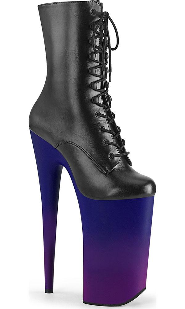 BEYOND-1020BP | Black Faux Leather/Blue-Purple Ombre [PREORDER]