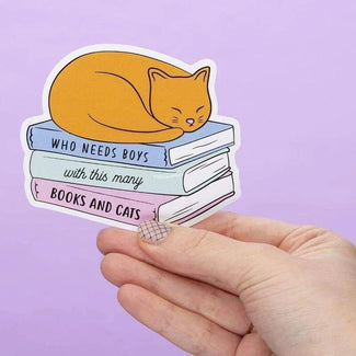 Who Needs Boys With This Many Books and Cats [Large] | VINYL STICKER