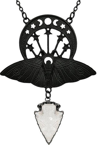 Crystal Moon Moth [Black] | NECKLACE
