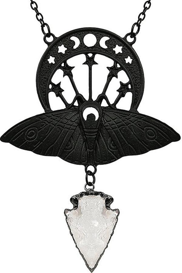 Crystal Moon Moth [Black] | NECKLACE*