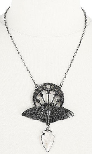 Crystal Moon Moth [Silver] | NECKLACE