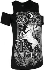 Magical Unicorn [Grey] Cold Shoulder | T-SHIRT