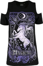 Magical Unicorn [Purple] Cold Shoulder | T-SHIRT