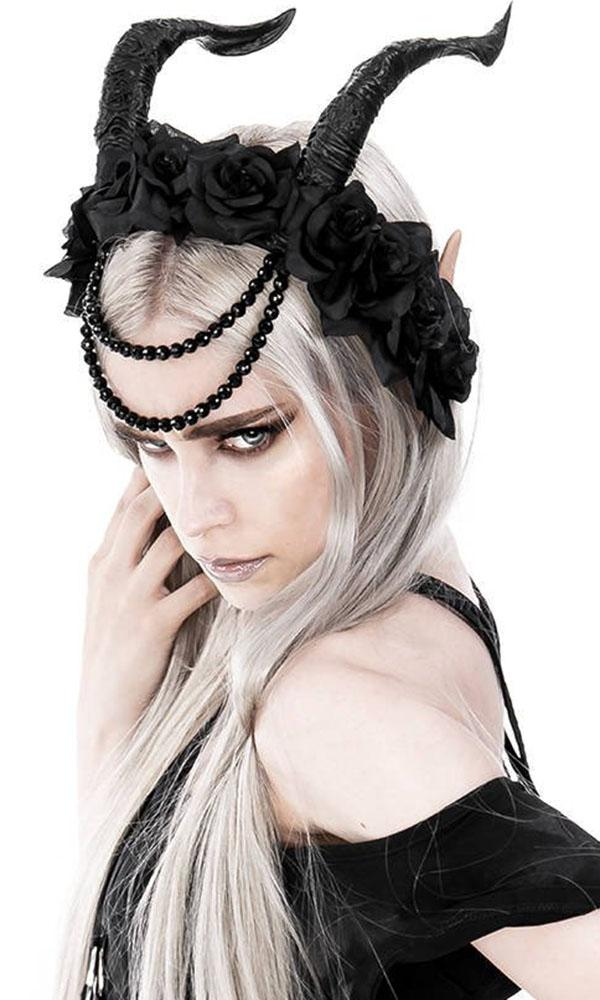 Tiefling Horns [Beaded Rose Crown] | HEADBAND