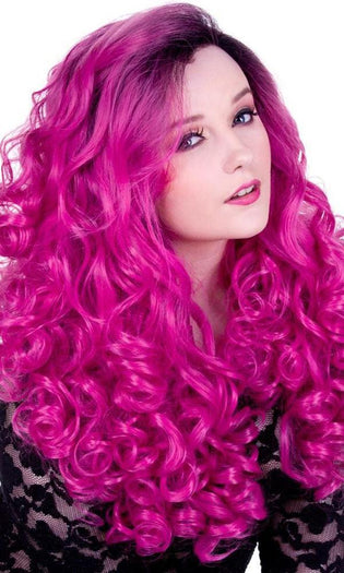 Lace Front Curly Dark Roots Fuchsia Rose | WIG