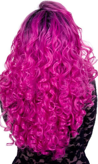Lace Front Curly Dark Roots Fuchsia Rose | WIG*