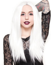 Lace Front Long Straight White Wigs
