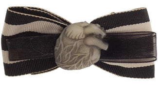 White Heart Stripe | HAIR BOW
