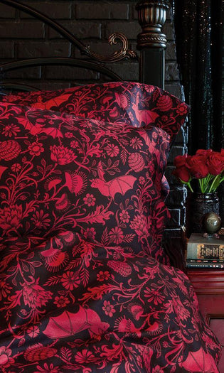 Elysian Fields [Black/Red] | KING DUVET COVER