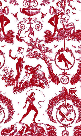 Fetish al Fresco Toile Scarlet | DOUBLE/FULL SHEET SET