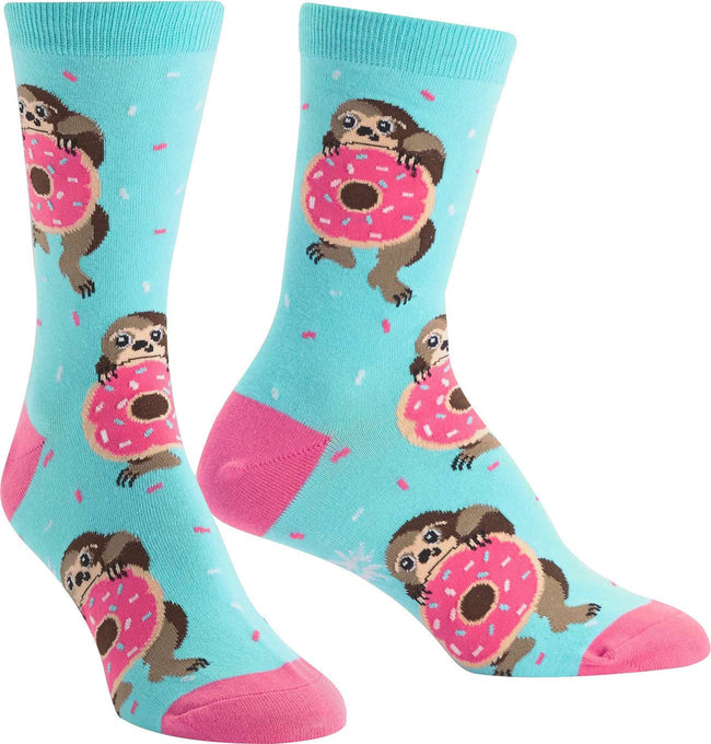 Snakin Sloth Crew Socks Ladies