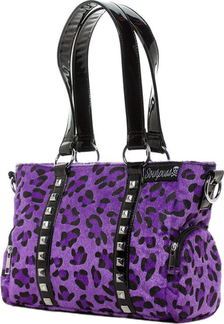 Leda Purple Leopard | Mini STUD PURSE