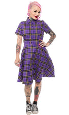 Purple Plaid | Button Down DRESS