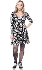 Skull Duggery 3/4 Sleeve | SKATER DRESS