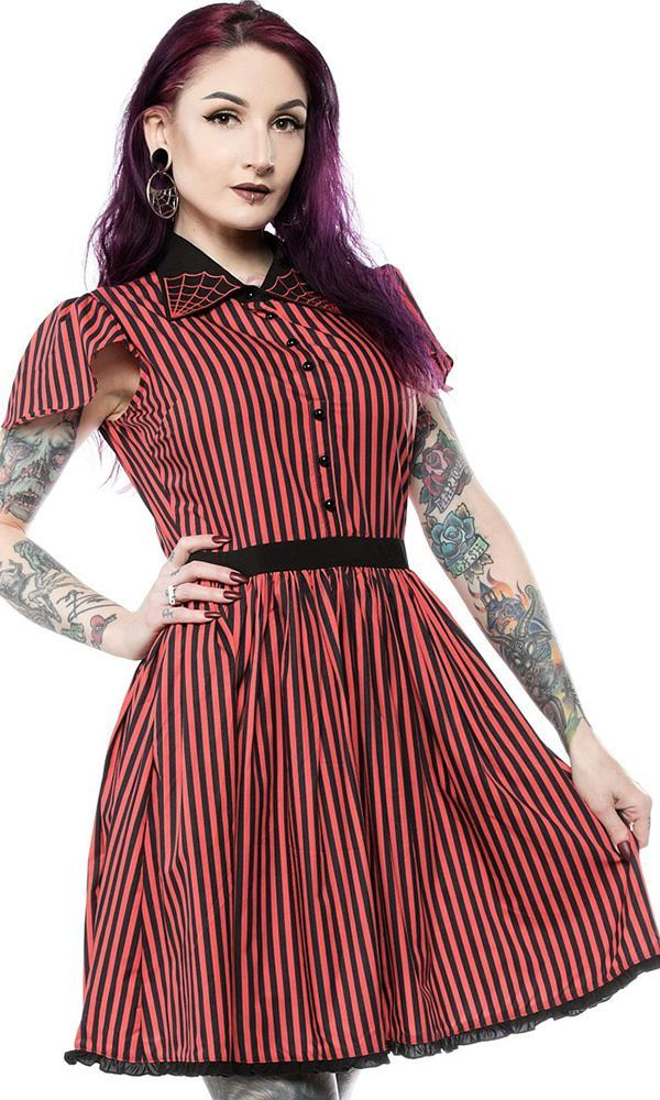 Striped Spiderweb Lydia [Red/Black] | DRESS
