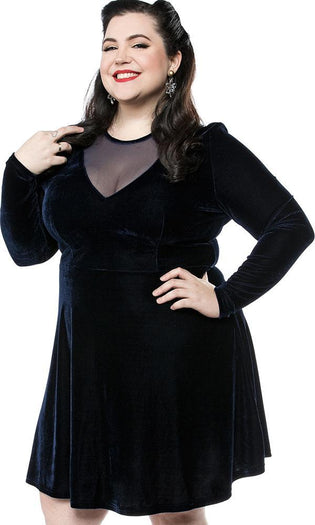 Mesh V Neck Blue Velvet | DRESS
