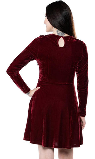 Mesh V Neck Oxblood Velvet | DRESS