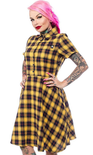 Yellow Plaid | Button Down DRESS