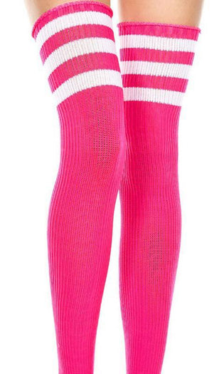 Spandex Acrylic [Fuchsia/White] | THIGH HIGH