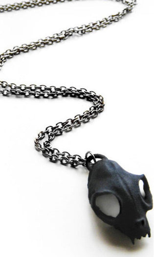 Cat Skull | LONG NECKLACE [BLACK]