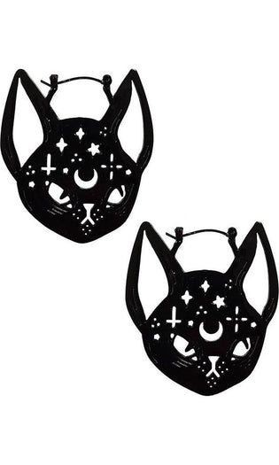 Black Witchy Cat Oversized | HOOP EARRINGS