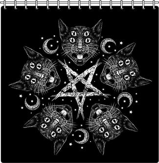 Cat-A-Gram Witch Pentagram | SHOWER CURTAIN