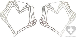 Heart Skeleton Hands Plug Friendly Oversized Hoop | EARRINGS