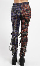 Split Leg Plaid [Black/Purple] | BONDAGE PANTS