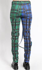 Split Leg Plaid [Green/Blue] | BONDAGE PANTS