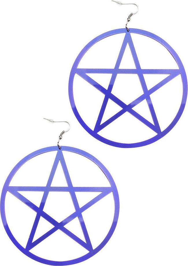 Large Pentagram [Purple] | EARRINGS