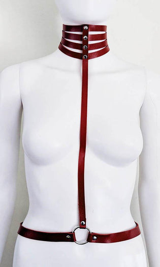 Marquise Pleather [Red] | CHOKER HARNESS