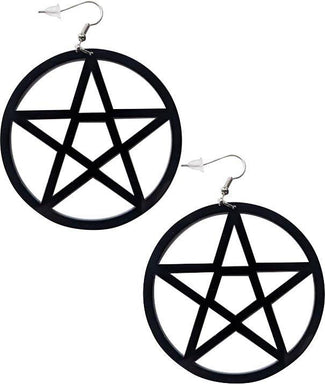 Mini Pentagram [Black] | EARRINGS