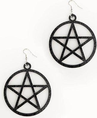 Mini Pentagram [Black Glitter] | EARRINGS